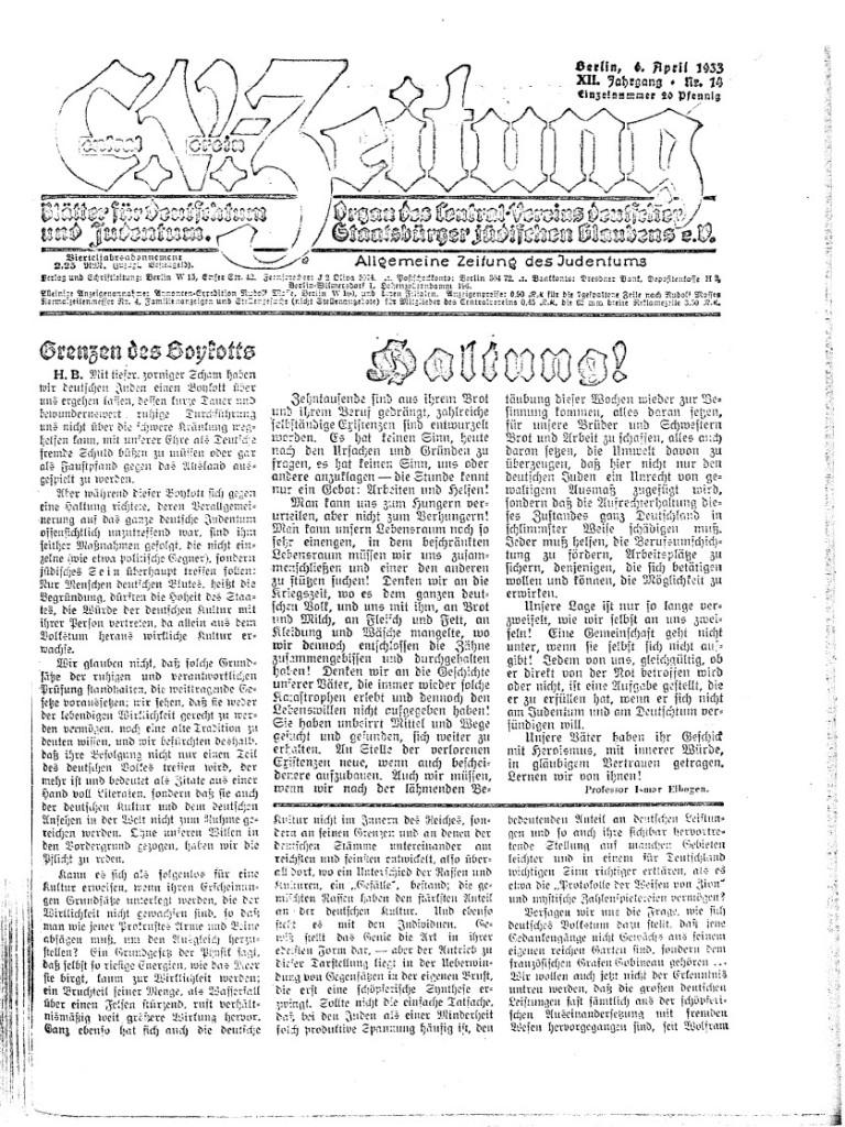 Die C.V.-Zeitung vom 6. April 1933, erste Ausgabe nach dem Boykott jüdischer Geschäft vom 1. April 1933