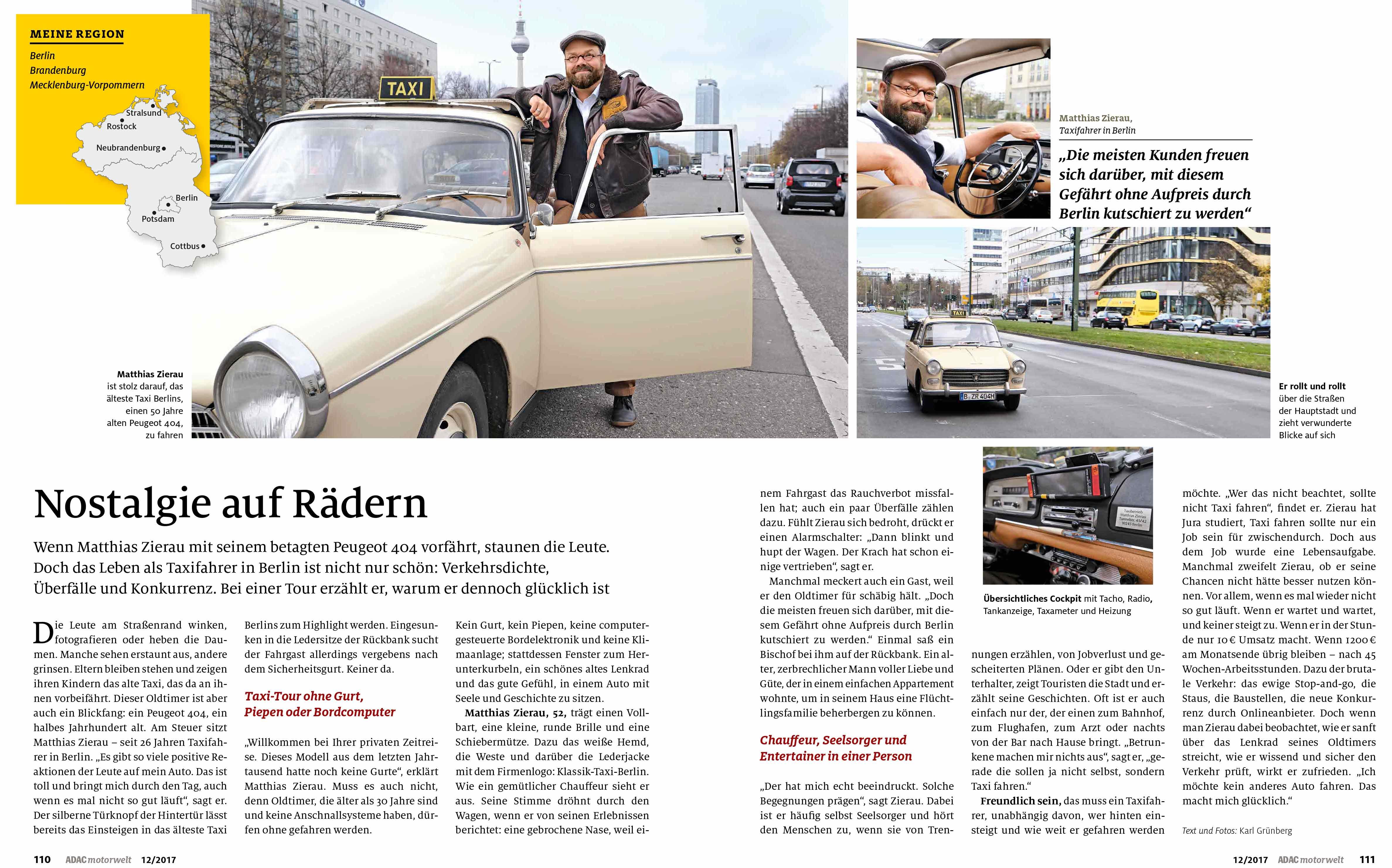 Oldi-Taxi-Berlin, Reportage Karl Grünberg
